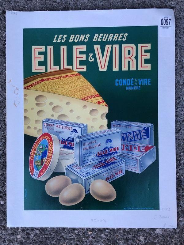 POSTER-FRENCH-LES BONS BEURRES ELLE & VIRE, C. 1953,