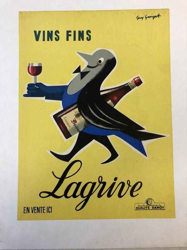 FRENCH POSTER-VINS FINS LAGRIVE, C. 1950, ARTIST IS GUY