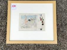 KARL KNATHS PENCIL DRAWING WITH DEER, WITH ESTATE OF
