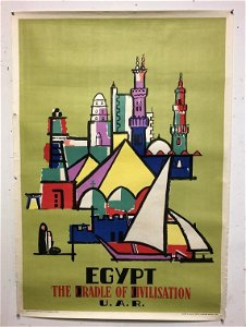"""1959 EGYPT TRAVEL POSTER, MEASURES 40"""" X 28"""", SOME"""