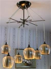 RARE LIGHTOLIER 6 LIGHT ITALIAN GLASS MID CENTURY