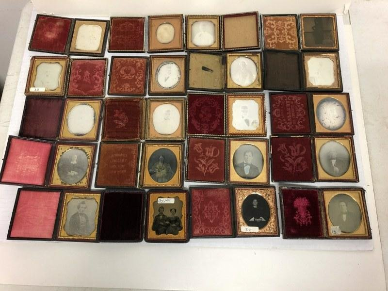 Group of 20 Cased Images, all sixth-plates, most are