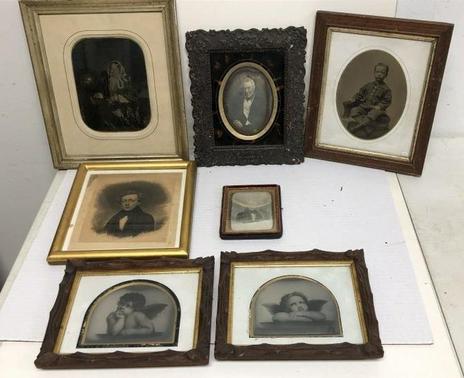 Group of Large Framed Daguerreotypes, Ambrotypes, and