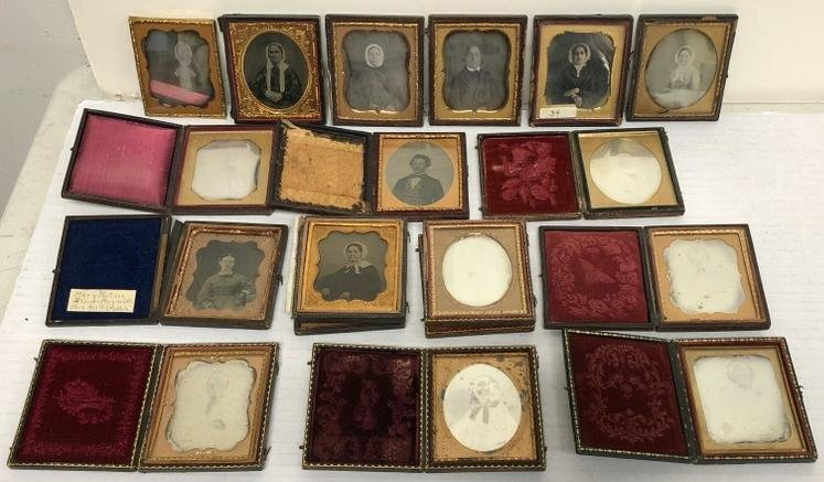 Lot of 16 sixth-plate images. 12 are daguerreotypes, 4