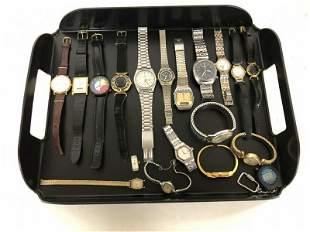 LOT OF 17 ESTATE WATCHES, LADIES AND MEN'S. INCL. 2