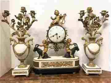 BEST FRENCH DORE BRONZE & MARBLE 3 PC. CLOCK SET, WITH
