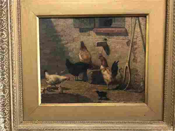 CHARLES HAMPDEN LUCY 1871 O/B FARM YARD SCENE WITH