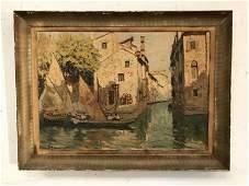 IMPRESSIONIST OC 1921 VENETIAN CANAL SCENE SIGNED S