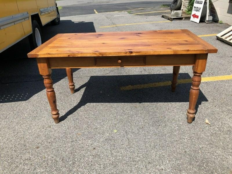 CONTEMPORARY PINE WORK-FARM TABLE WITH ONE DRAWER, FROM