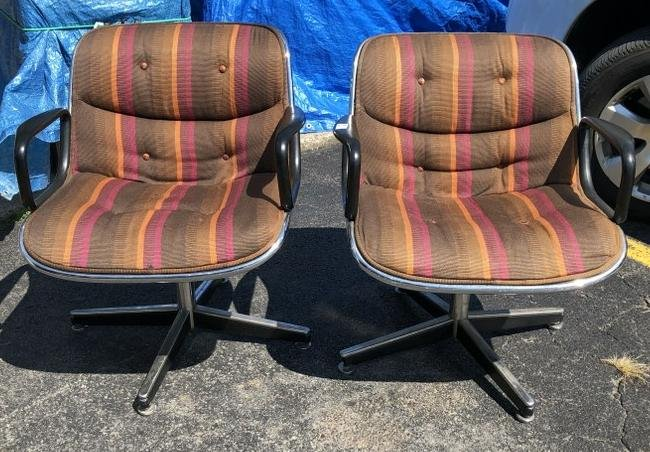 PR. KNOLL CHARLES POLLOCK ARMCHAIRS, ORIGINAL PERIOD