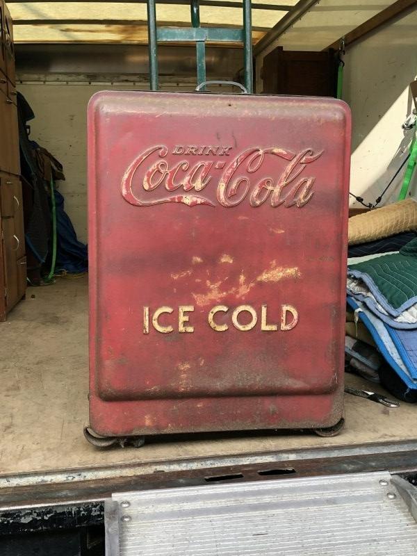 OLD COCA COLA COOLER, WORN ORIGINAL PAINT & SURFACE