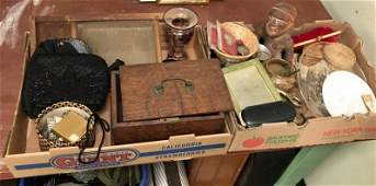 (2)TRAYS OF MISC. ESTATE OLDER ITEMS, COSTUME JEWELRY,