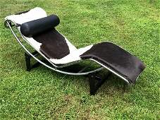 CORBUSIER CHAISE LOUNGE WITH COWHIDE CUSHION, MY GUESS