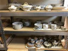 SHELVES OF ESTATE CHINA, INCL. LIMOGES PARTIAL LARGE