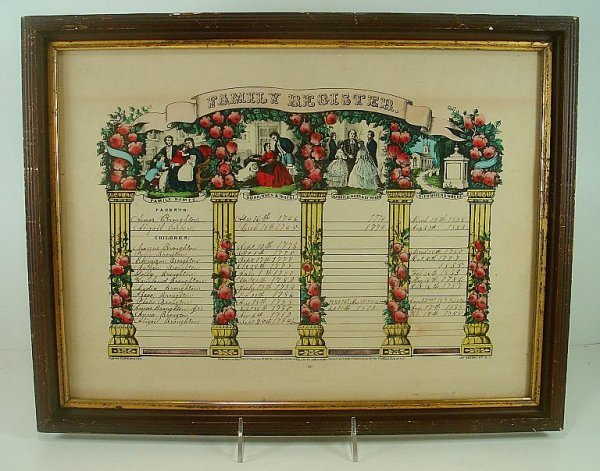 CURRIER & IVES FAMILY REGISTER BROUGHTON FAMILY , DATES
