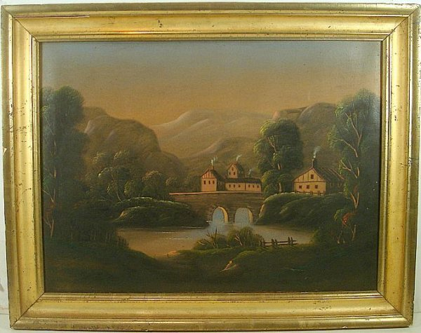PRIMITIVE O/C HIGH FALLS NY AREA LANDSCAPE PAINTING IN