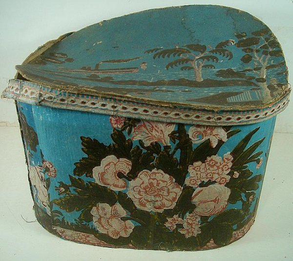 PRIMITIVE PAINTED HAT BOX PORT OF BUFFALO FROM LAKE ERI