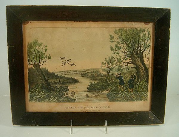 """N CURRIER WILD DUCK SHOOTING, SMALL FOLIO, MEASURES 10"""""""