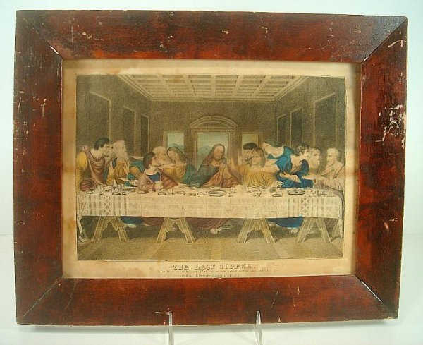 N CURRIER THE LAST SUPPER, SMALL FOLIO PRINT, HAS FOXIN