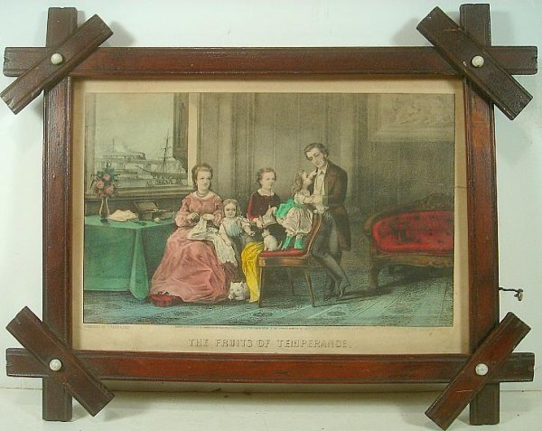 CURRIER & IVES THE FRUITS OF TEMPERANCE PRINT. SMALL TE