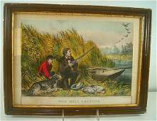 CURRIER & IVES WILD DUCK SHOOTING ON THE WING, SMALL FO