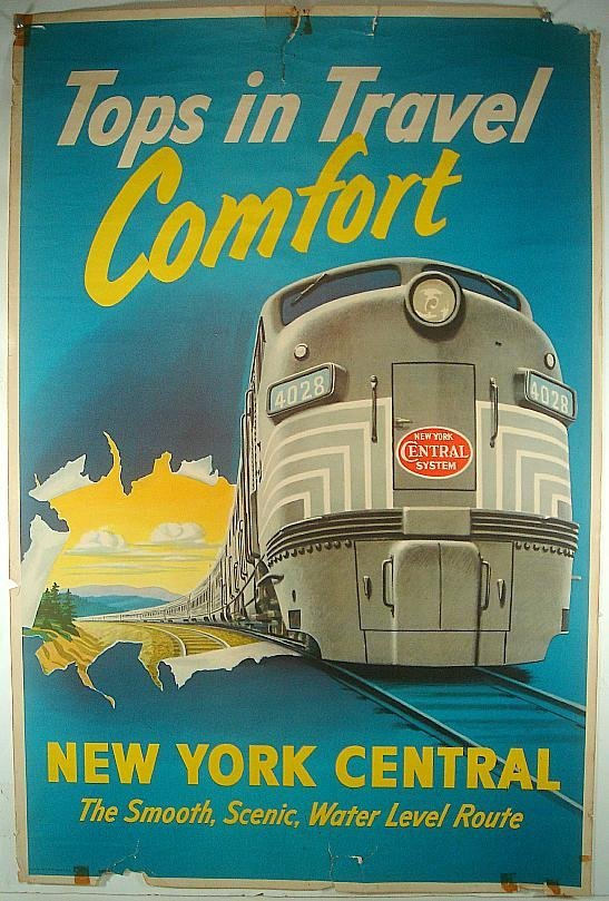 POSTER-NEW YORK CENTRAL TOPS IN TRAVEL COMFORT, THE SMO