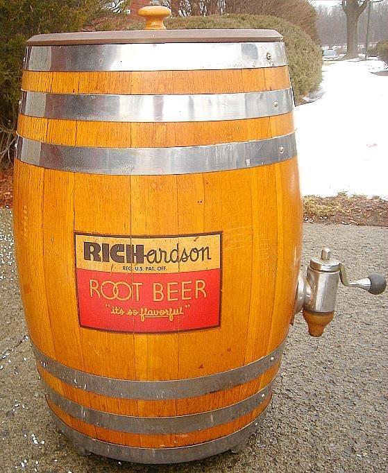 COCA COLA RICHARDSON ROOT BEER WOOD KEG DISPENSER, NICE - 2