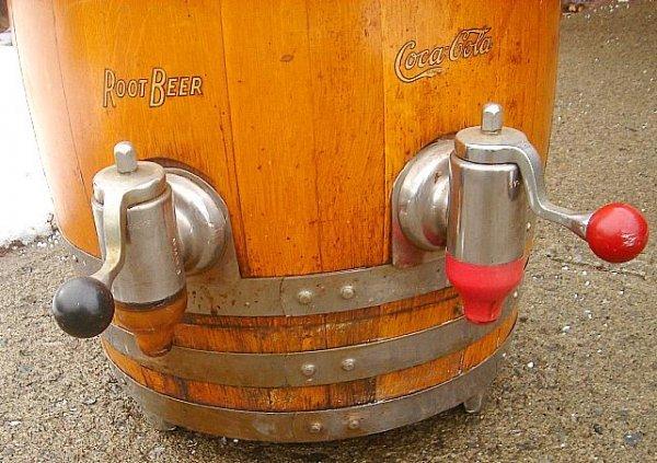 COCA COLA RICHARDSON ROOT BEER WOOD KEG DISPENSER, NICE - 4