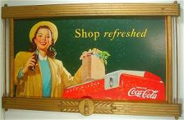 COCA COLA OLD SIGN IN WOOD FRAME, SHOWS GIRL DRINKING C