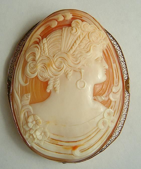 """NICE ESTATE CAMEO PIN. BEAUTIFULLY CARVED, MEASURES 3"""""""