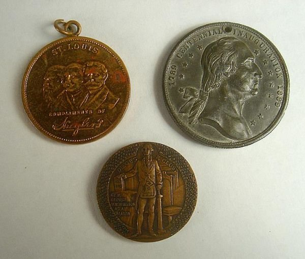 LOT OF 3 MEDALS INCLUDING AN UNUSUAL WASHINGTON AS A MA
