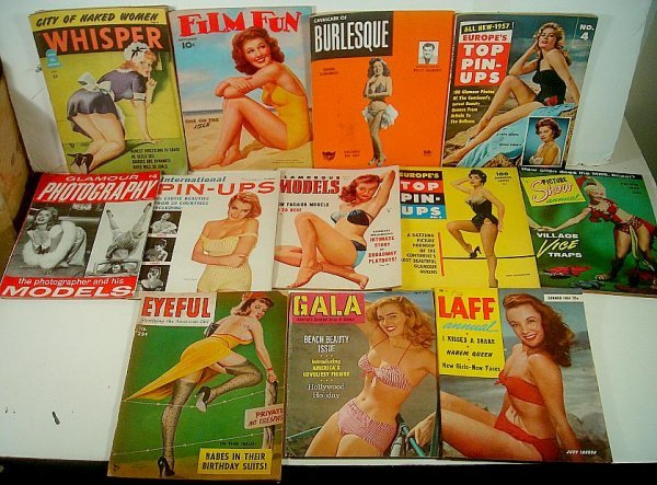 12 OLDER GIRLIE MAGAZINES, GREAT COVERS, 40'S AND 50'S,