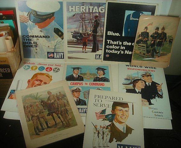7 US NAVY RECRUITING POSTERS, 1959-1968, AND 1895 & 190