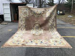 LARGE HANDMADE OLDER CHINESE RUG,HAS SOME CONSISTENT