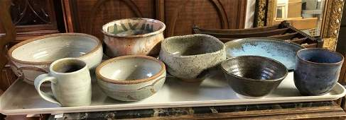 8 PCS CONTEMPORARY ART POTTERY FROM HUDSON VALLEY