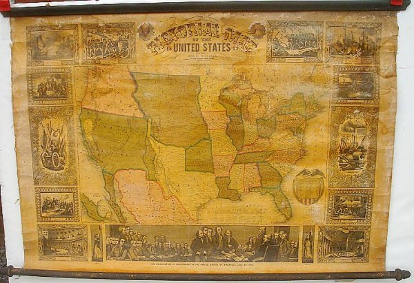 1: ENSIGN & THAYER 1849 ROLL DOWN MAP OF THE UNITED STA