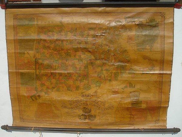 3: ROLL DOWN MAP MASS RI & CT. 1847 T & E ENSIGN NEW YO