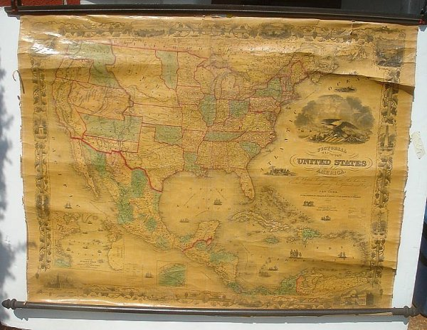 8: ROLL DOWN PICTORIAL MAP US OF AMERICA 1860 PHELPS &