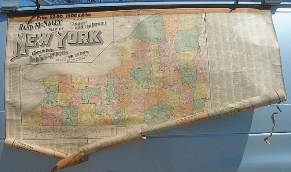 10: 1906 MAP OF NY RAND MCNALLY ROLL DOWN, AS IS CONDIT
