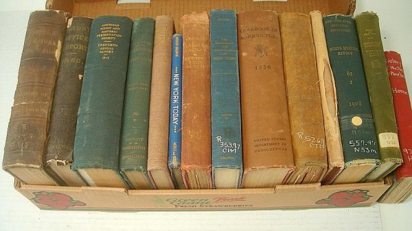 23: BOX EARLY NY STATE BOOKS, INCLUDING AGRICULTURAL, P