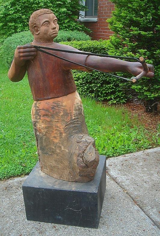 1A: AARON BINDMAN BLACK FOLK ART SCULPTURE DAVID SLAYIN