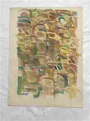 ABSTRACT WATERCOLOR SIGNED DENT 1973, FROM ESTATE OF