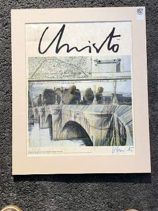 CHRISTO SIGNED POSTER, 1985 THE PONT NEUF WRAPPED,