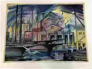 ALTHEA SPALDING ODELL (1921-2001) WATERCOLOR, BOATS