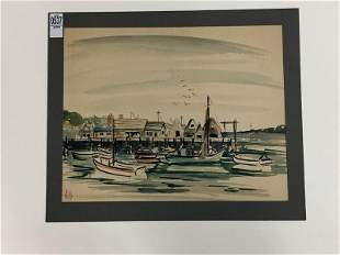 ALTHEA SPALDING ODELL WATERCOLOR BOATS DOCKED, POSSIBLY