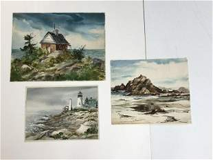 (3) ALTHEA SPALDING ODELL WATERCOLORS, NEW ENGLAND