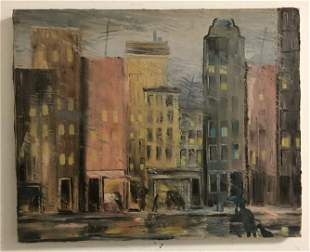 ALTHEA SPALDING ODELL (1921-2001) O/C STREET SCENE WITH