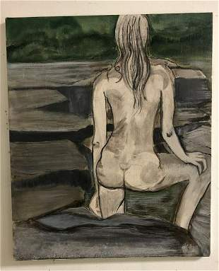 ALTHEA SPALDING ODELL (1921-2001) O/C NUDE FEMALE, BACK