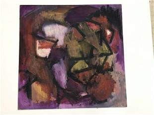 MID CENTURY ABSTRACT O/B SIGNED DENT 1961, ON MASONITE,