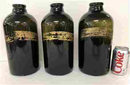 (3) LARGE OLD GREENISH APOTHECARY JARS, WITH PARTIAL